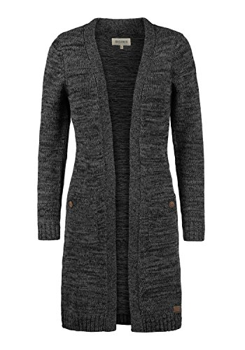 DESIRES Philetta Damen Lange Strickjacke Cardigan Grobstrick Winter Longstrickjacke, Größe:XL, Farbe:Black (9000)