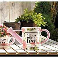 Summerfield Terrace All You Need is Love Pink Flamingo Watering Can Planter