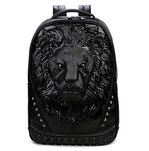 SZH 3D Lion Pattern Decor Klettern Camping Bergsteigen Backpacking Laptop Rucksack Black