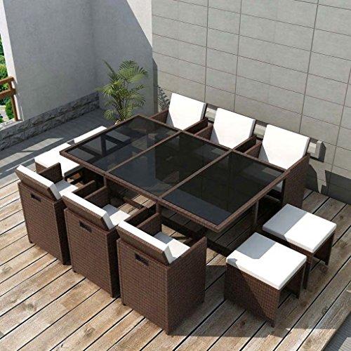 Lingjiushopping Set de salle à manger de jardin 27 pièces M š ® n poli Rat š ¢ n Material : Structure d'acier + Rat š ¢ n pE + Plateau en verre