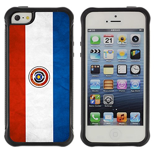 Graphic4You Vintage Uralt Flagge Von Dominikanische Republik Design Harte Hülle Case Tasche Schutzhülle für Apple iPhone 5 und 5S Drapeau Paraguayen Paraguay