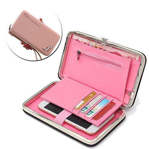 Vandot Handytasche Party Mädchen Luxury Magneten Schutzhülle Handyhülle Handtasche Ultra Retro Universal Bling Glitter Strass High Heels Ledertasche PU Lederhülle mit Card Halter, Pink -