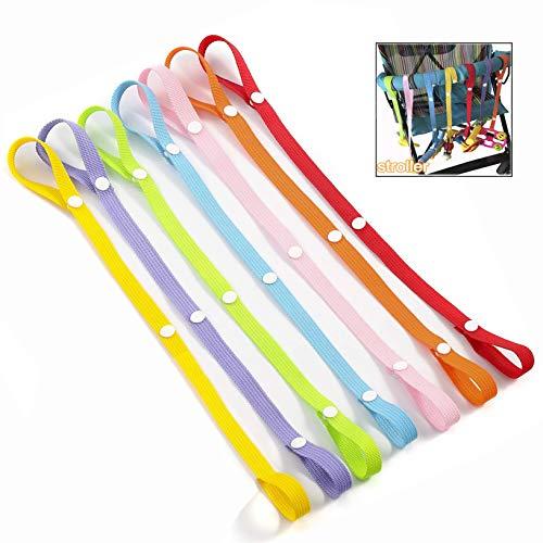 LHKJ 7 Stück Anti-Drop Strap Baby Spielzeug, Schnullerkette Baby Drop-Babyflasche Toy Kleiderbügel Gürtel mit für Kinderwagen (Halter Stück 3 Straps)