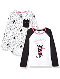 Spotted Zebra 2-Pack Long-Sleeve Novelty T-Shirts Niñas, Pack de 2