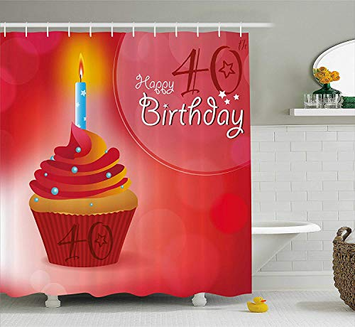 tgyew 40th Birthday Decorations Shower Curtain, Sweet Cupcake with a Candlestick Dots and Stars Romantic, Fabric Bathroom Decor Set with Hooks, 60W X 72L Inche, Red Orange Blue