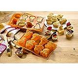 Motiv Backform aus Silikon - 29 x 17 x 4 cm, orange, lebensmittelecht, zum Backen von Keksen, Mini Kuchen u.v.m, Stückzahl:1 Stück