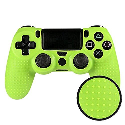 eXtremeRate® PS4 Controller Hülle Schutzhülle Anti-Rutsch weiche Silikon Case Tasche Skin für Sony PS4 Playstation 4 Controller(Grün) (Schutz Ps4)