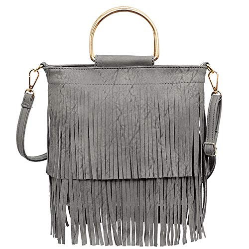 9123c6a637e9 CHIC DIARY Women PU Leather Fringe Cross Body Shoulder Bag Tassel Womens  Purse (Gray)
