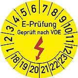 Elektro-Prüfung Geprüft nach VDE Prüfplakette, 100 Stück, in verschiedenen Größen, Prüfetikett Prüfsiegel Plakette Elektroprüfung (35 mm Ø)
