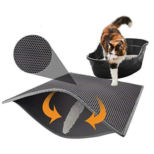 Dreamworldeu Doppelschicht Katzenstreumatte Katzenklo-Matte Wasserdichte Katzenklo Vorleger Grau