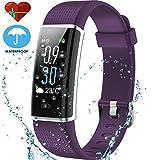 techarooz Fitness-Tracker/Sport-Modus, Farbe-Display, Activity-Tracker mit Herzfrequenz-Monitor, wasserdicht, Smart-Watch-Armband, mit Kalorienzähler, Schrittzähler, für Kinder, Damen und Herren, violett
