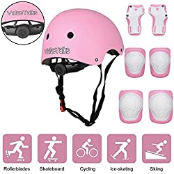 VALUETALKS Casque Enfant Vélo sport Casque Ajustable Genou Genouillère Protection Palm Sports Srotection Vélo Draisienne Skateboard Roller Skate/ Rose