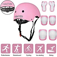 ValueTalks Bike Helmet and Pads Set Kids, Child's Adjustable Helmet, Knee Pads, Elbow Pads and Wrist Pads for Skateboard Roller Skating Cycling