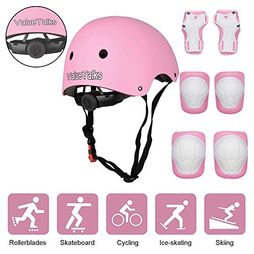 VALUETALKS Casque Enfant Vélo sport Casque Ajustable Genou Genouillère Protection Palm Sports...