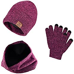 Tuopuda® Gorro Bufanda Guantes Set de Invierno para Hombre y Mujer Gorro de punto Bufandas Caliente Guantes de Pantalla Táctil (Rosa caliente)