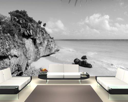 Bilderdepot24 Vlies Fototapete - Tulum Mexiko - Karibik - schwarz Weiss - 420x270 cm - mit Kleister - Poster - Foto auf Tapete - Wandbild - Wandtapete - Vliestapete