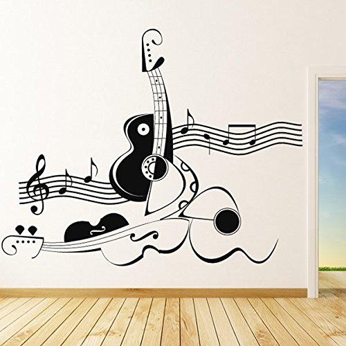 Abstrakt-Violine-und-Gitarre-Wandaufkleber-Wandtattoo-Musik-Kunst-verfgbar-in-5-Gren-und-25-Farben-Extragro-Laubgrn