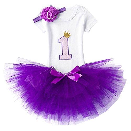 Baby Mädchen Ist es Mein 1. / 2. Geburtstags Prinzessin 3 pcs Outfits Spielanzug Rock Tütü Pettiskirt mit Bowknot Stirnband Neugeborene Säuglings Kleinkind Partykleid Fotoshooting - Kleinkind Kostüm Mit Tutu