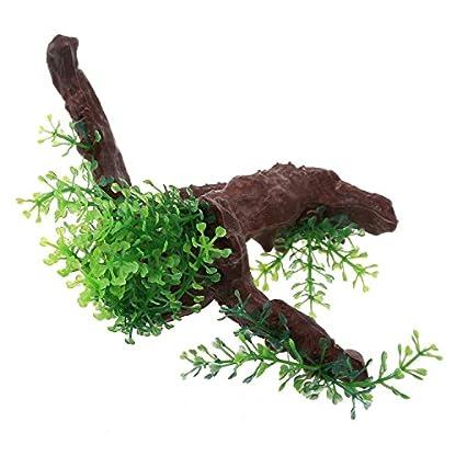 TOOGOO Green Dark Brown Fish Tank Aquarium Driftwood Plastic Tree 5.7 inch 3