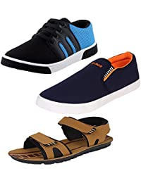 Bersache Men Combo Pack of 3 Casual Shoes With Loafer & Moccasins & Sandal