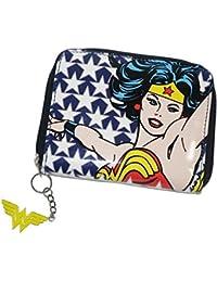 DC Comics - Retro Wonder Woman Geldbörse (Stars) mit auffälligen Zipper Wonder Woman Logo