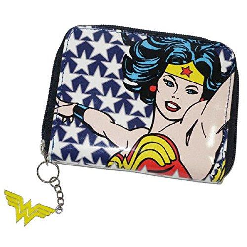 DC Comics Wonder Woman Portefeuille (Stars) avec fermeture éclair auffälligen Wonder Woman Logo