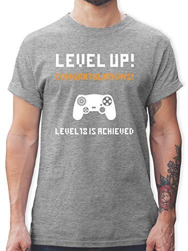 urtstag - Gamer Level 18 - XXL - Grau meliert - L190 - Herren T-Shirt und Männer Tshirt ()