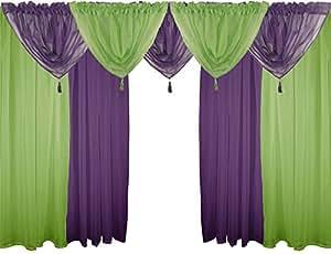 Grun & Purple 9 Stück Voile Set 229cm Stange Tasche Vorhänge Vorhänge & Girlanden