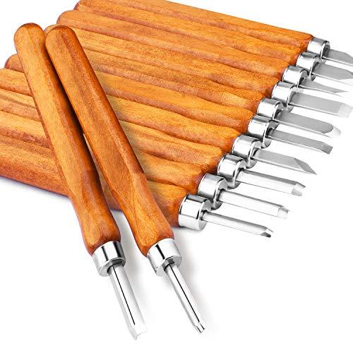 Holz-Schnitzwerkzeug Set, Kincrea 12pcs Holz-Schnitzmesser mit SK2 Professional Holzschnitzerei Meißel Set mit Schleifsteine für holz, Obst, Gemüse, Carving DIY, Skulptur +Messerkappe JA021