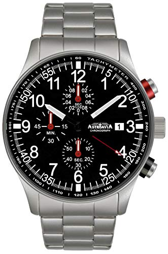 Astroavia Herren-Armbanduhr Chronograph Quarz mit Edelstahl Armband