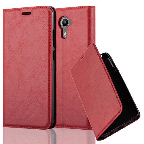 Cadorabo Hülle für Wiko U Feel Prime - Hülle in Apfel ROT – Handyhülle mit Magnetverschluss, Standfunktion und Kartenfach - Case Cover Schutzhülle Etui Tasche Book Klapp Style