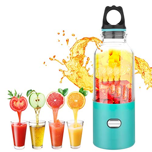 Portable Blender, Etrigger Mini Electric Juicer 6pcs Stainless Steel Blades Smoothie Maker with 500ml Travel Bottle and USB Charging Cable for Home, Travel and Outdoor Sport
