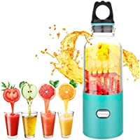 Alegender 500 Portable Blender, Household Mini Juicer with 500ml Capacity, USB Interface & Rechargeable and 6 PCS Blades for Traveling Working Outdoors, 304 Stainless Steel 25 W, milliliters
