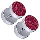 tumundo Set von 6 Stk/1 Stk Fake-Plug Piercing Tunnel Ohr-Ringe Stecker Glitzer Glitter Glanz Golden Silbern Edelstahl, Farbe:silbern - Glitzer pink