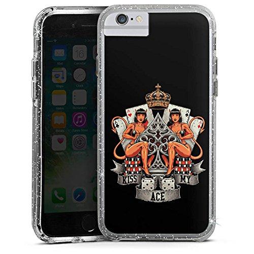 Apple iPhone 8 Bumper Hülle Bumper Case Glitzer Hülle Poker Ass Spruch Bumper Case Glitzer silber