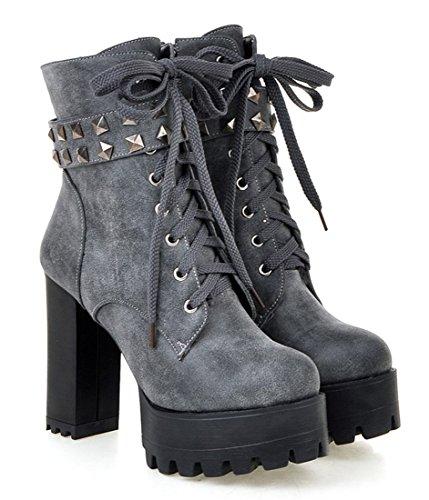 YE Damen Blockabsatz Plateau High Heel Stiefeletten mit Schnürung und Nieten Fell Warm Gefütterte 12cm Absatz Ankle Boots Grau