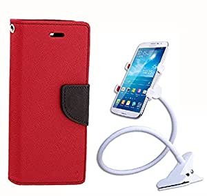 Aart Fancy Diary Card Wallet Flip Case Back Cover For Samsung 9500 - (Red) + 360 Rotating Bed Tablet Moblie Phone Holder Universal Car Holder Stand Lazy Bed Desktop for by Aart store.