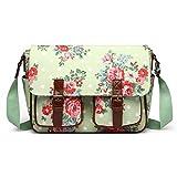 Miss LuLu Wachstuch Tasche Umhängetasche Schultasche mit vielen Drucken in vielen Farben (F-GN)