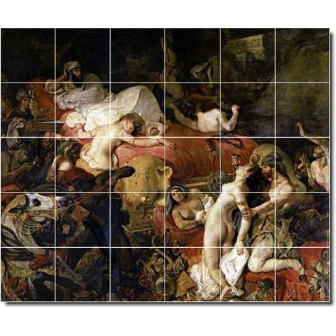 Eugene Delacroix nudi Backsplash per piastrelle, 7. 101,6x 121,9cm utilizzando (30) 8x 8piastrelle in ceramica.