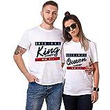 King Queen Shirts Couple Shirt Pärchen T-Shirts Paar Tshirt König Königin Kurzarm 1 Stücke (L,Queen-Weiß)