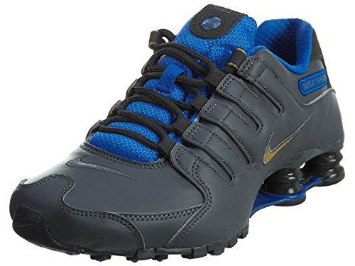 new styles cc96d a7bd8 NIKE Shox NZ Se Men s Shoes Dark Grey Metallic Gold Hyper Cobalt 833579-