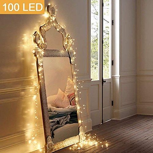 (Ankamal Elec Batteriebetriebene Girlanden imprägniern 100 LED-Lichter Schnur-Girlanden 10M 8 Feiertags-Modi mit Fernbedienung Weihnachtsfest-Halloween-Dekoration Beleuchtung-Warmes Weiß)