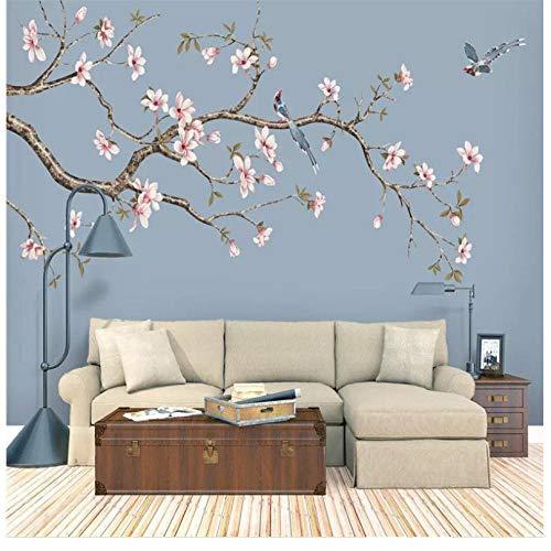 Fototapete Anpassung dekorative Wand Magnolia Chinesische handgemalte Blumen und Vögel Kugelschreiber Blumen und Vögel Hintergrund