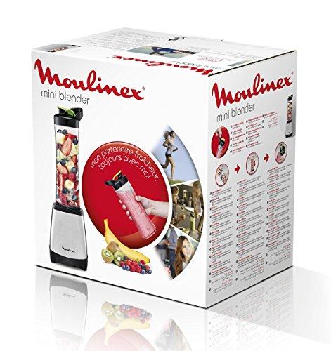 Moulinex Smoothie & Twist LM1A0D10 Batidora individual con potencia de 300 W de 4 cuchillas con recipiente portátil de 600 ml, vaso apto para lavavajillas, cuerpo acero inoxidable