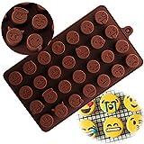 #9: JoyGlobal Silicone 28-Cavity Emoji Emoticans Candy Chocolate DIY Molds (Chocolate Weight : Approx 5 Grams & Chocolate Size : 2 x 2 x 1.5 CM Per Cavity)