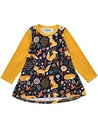 BYSTE Bambino Ragazze Abito Outfits Abiti Neonato Cartone Animato Volpe  Stampa Maniche Lunghe Tops Vestito da 79e325702cf