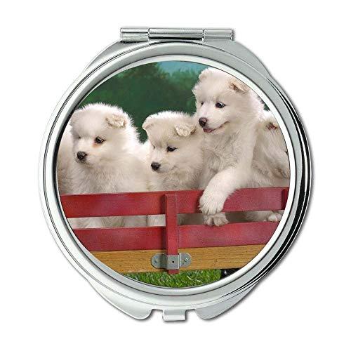 Yanteng Spiegel, runder Spiegel, lustiger süßer Hund des niedlichen Mops-Hundes, Taschenspiegel, 1 X 2X Vergrößern