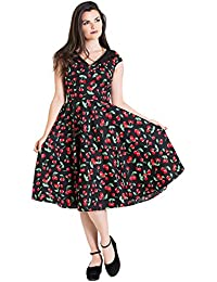 a85c4f23f796f Hell Bunny Black Cherry Pop Rockabilly 1950s Vintage Retro Flared Pinup  Dress