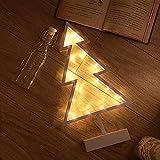 iShine Weihnachtsdeko Nachtlampe LED 24.5cmx40cmx6cm Tischlampe Beleuchtung Batteriebetrieben String Light Deko Lichterketten für Kinderzimmer Wohnzimmer Party Hochzeit