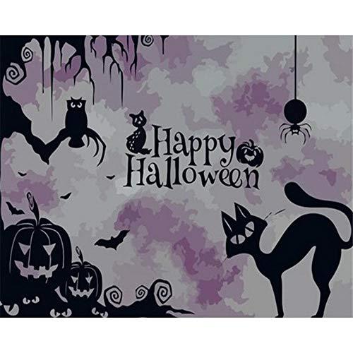 DIY Ölgemälde, Malen nach Zahlen Kit für Erwachsene Anfänger, Creative Gemälde auf Leinwand,Schöne Landschaft, Halloween Wallpaper mit Holzrahmen, 16x20inches (Wallpaper Halloween Für)